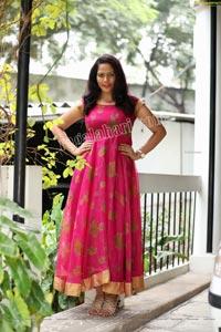 Shaik Faiza in Rani Pink Designer Long Gown