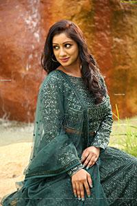 Chaithanya Priya in Green Embellished Lehenga Choli