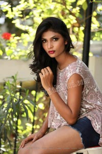 Bhavni Naidu T in Denim Shorts and Crop Top