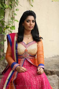 Lasya Sri in Pink and Orange Embellished Lehenga Choli