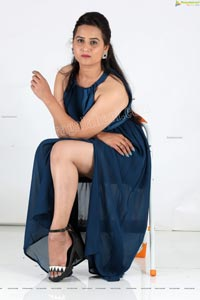 Preyasi Jiggar in Teal Blue Long Slit Dress