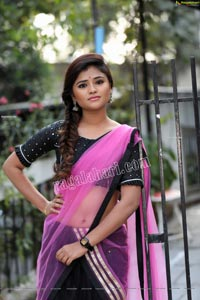Rishika Nisha in Pink and Black Half Saree