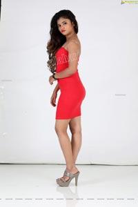 Rishika Nisha in Red Bandeau Bodycon Dress