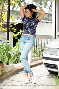 Shaik Faiza in Blue Floral Top and Denim Jacket
