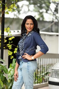 Shaik Faiza in Blue Floral Top and Denim Jacket