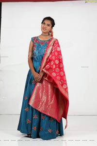 Siri Khanakan in Blue Anarkali With Banaras Dupatta
