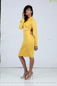 Tueeshaa in Yellow High Neck Jumper Dress