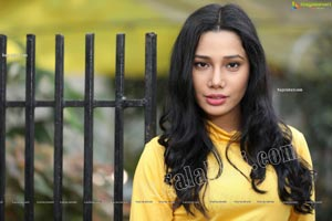 Tueeshaa in Yellow High Neck Jumper Dress