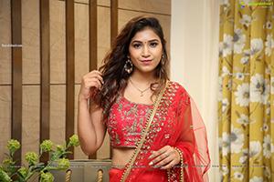 Divya Pandey in Red Embellished Lehenga Choli