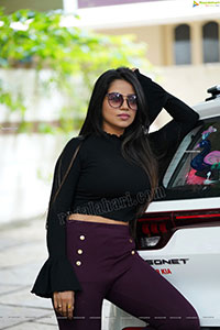 Bhavya Sri in Black Ribbed-Knit Crop Top Exclusive Shoot