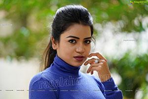 Bhavya Sri in Royal Blue Ribbed-Knit Turtleneck Top