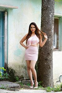 Dhriti Patel in High Waist Package Hip Mini Skirt