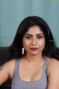 Madhulagna Das in Gray Crop Top and Black Denim Shorts