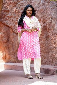 Sujana Bathula in Light Pink and White Churidar