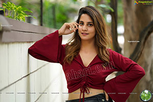Tejal Tammali in Black Leather Mini Skirt and Red Top